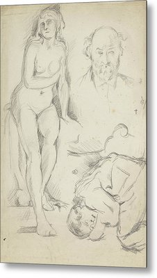 Studies Of Three Figures Including A Self-portrait  Metal Print by Paul Cezanne