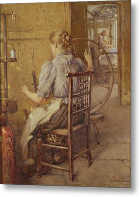 The Spinning Wheel  Metal Print by Frederick William Jackson