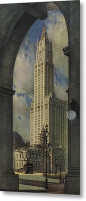 View Of The Woolworth Building Metal Print by American School