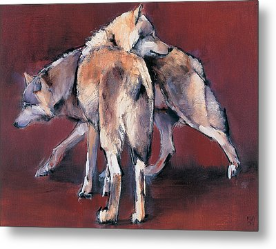 Wolf Composition Metal Print by Mark Adlington