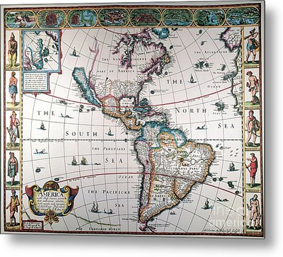 New World Map, 1616 Metal Print by Granger