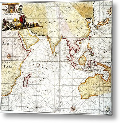 Indian Ocean: Map, 1705 Metal Print by Granger