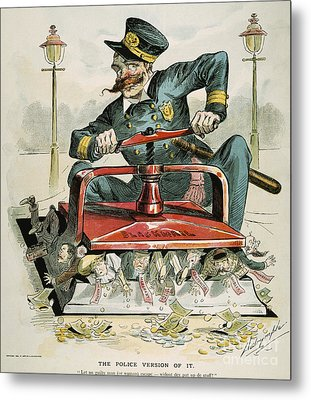 Police Corruption Cartoon Metal Print by Granger