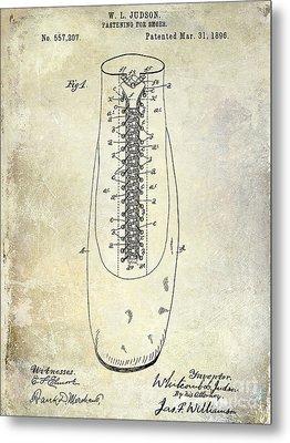 1896 Shoe Patent  Metal Print by Jon Neidert