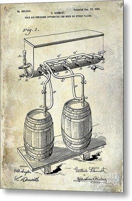 1900 Beer Keg System Patent Metal Print by Jon Neidert