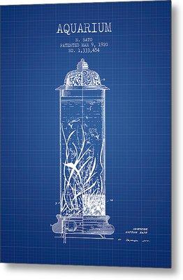 1902 Aquarium Patent - Blueprint Metal Print by Aged Pixel