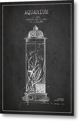 1902 Aquarium Patent - Charcoal Metal Print by Aged Pixel