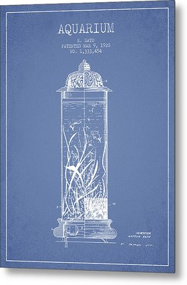 1902 Aquarium Patent - Light Blue Metal Print by Aged Pixel