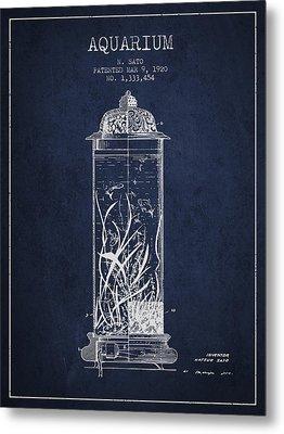 1902 Aquarium Patent - Navy Blue Metal Print by Aged Pixel
