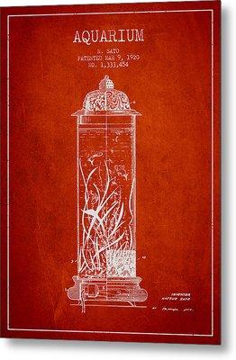 1902 Aquarium Patent - Red Metal Print by Aged Pixel