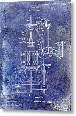 1922 Wine Press Patent Blue Metal Print by Jon Neidert
