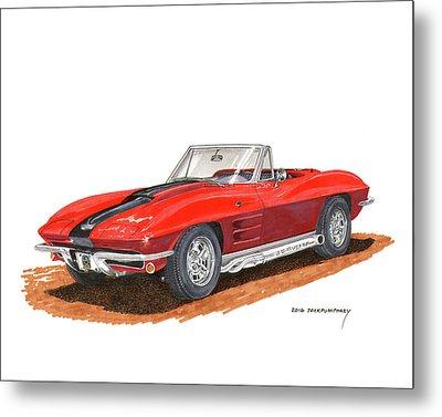 1963 Corvette Stingraw Roadster Metal Print by Jack Pumphrey