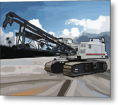 2004 Link Belt 138h5 Lattice Boom Crawler Crane Metal Print by Brad Burns