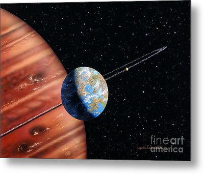 70 Virginis B And Moons Metal Print by Lynette Cook