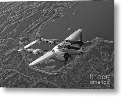 A Lockheed P-38 Lightning Fighter Metal Print by Scott Germain