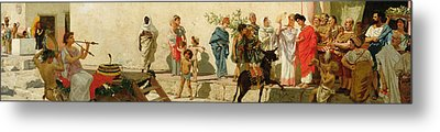 A Roman Street Scene With Musicians And A Performing Monkey Metal Print by Modesto Faustini