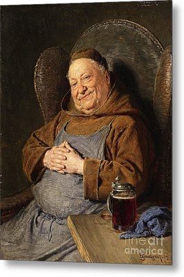 A Seated Monk With A Tankard Metal Print by Celestial Images