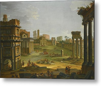 A View Of The Forum With The Campo Vaccino Metal Print by Antonio Joli