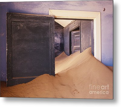 Abandoned House Filled With Drifting Sand Metal Print by Jeremy Woodhouse