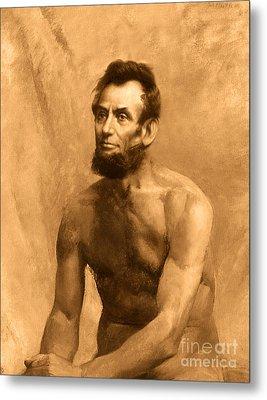 Abraham Lincoln Nude Metal Print by Karine Percheron-Daniels