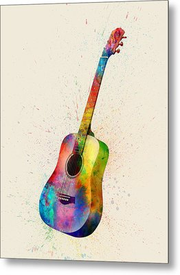 Acoustic Guitar Abstract Watercolor Metal Print by Michael Tompsett