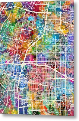Albuquerque New Mexico City Street Map Metal Print by Michael Tompsett
