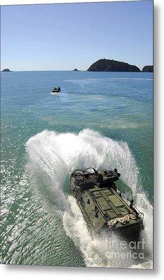 Amphibious Assault Vehicles Exit Metal Print by Stocktrek Images