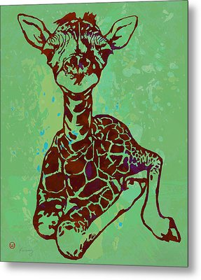 Baby Giraffe - Pop Modern Etching Art Poster Metal Print by Kim Wang