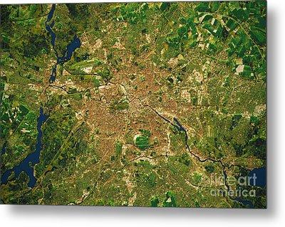 Berlin City Topographic Map Natural Color  Metal Print by Frank Ramspott