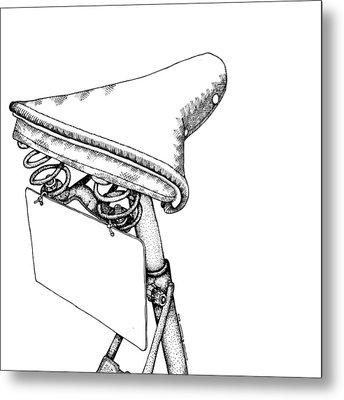 Bike Saddle Metal Print by Karl Addison