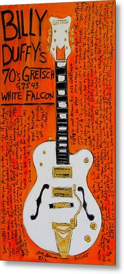 Billy Duffy Gretsch White Falcon Metal Print by Karl Haglund