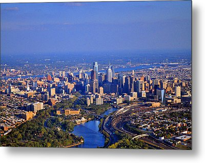 1 Boathouse Row Philadelphia Pa Skyline Aerial Photograph Metal Print by Duncan Pearson
