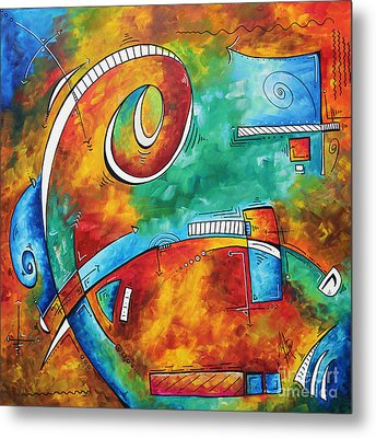 Bold Colorful Abstract Pop Art Original Contemporary Painting By Megan Duncanson Fire And Ice Metal Print by Megan Duncanson