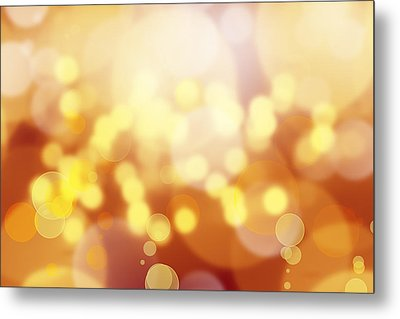 Brown And Yellow Circles Metal Print by Les Cunliffe