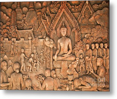Buddha Metal Print by Niphon Chanthana