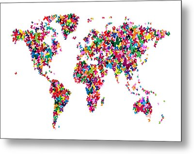 Butterflies Map Of The World Metal Print by Michael Tompsett