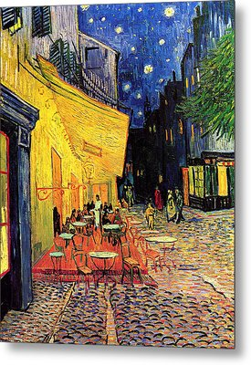 Cafe Terrace Place Du Forum At Night Metal Print by Vincent Van Gogh
