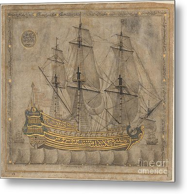 Calligraphic Galleon Metal Print by Celestial Images