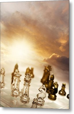 Chess Game Metal Print by Les Cunliffe