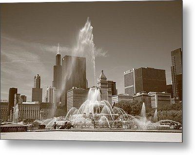Chicago Skyline And Buckingham Fountain Metal Print by Frank Romeo