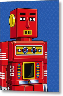 Chief Robot Metal Print by Ron Magnes
