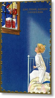 Child Watches As Santa Comes Down Chimney On Christmas Eve Metal Print by American School