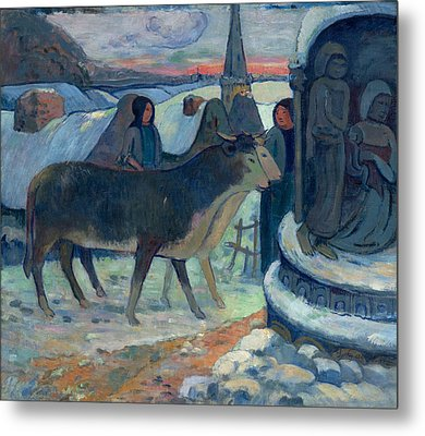 Christmas Night The Blessing Of The Oxen Metal Print by Paul Gauguin