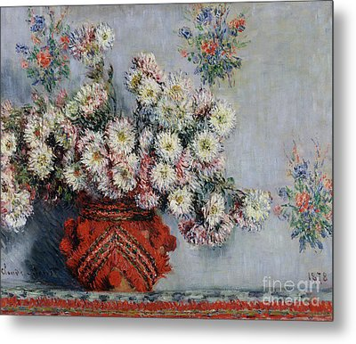 Chrysanthemums Metal Print by Claude Monet