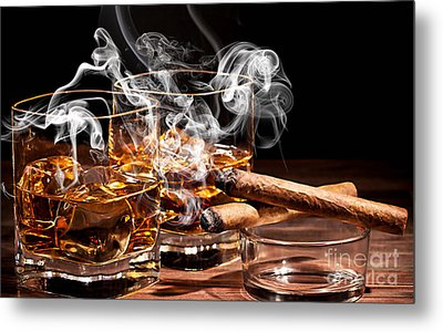 Cigar And Alcohol Collection Metal Print by Marvin Blaine