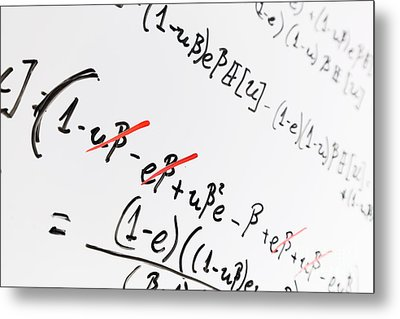 Complex Math Formulas On Whiteboard. Mathematics And Science With Economics Metal Print by Michal Bednarek