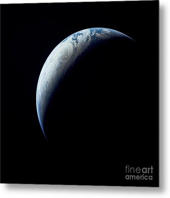Crescent Earth Taken From The Apollo 4 Metal Print by Stocktrek Images