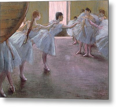 Dancers At Rehearsal Metal Print by Edgar Degas