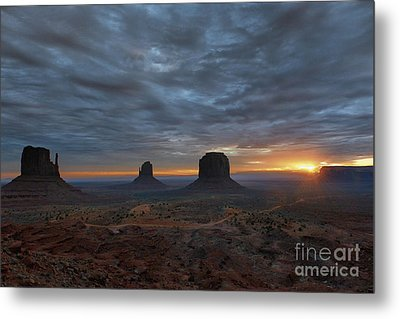Dawn At Monument Valley Metal Print by Sandra Bronstein