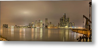 Detroit At Night Metal Print by Andreas Freund